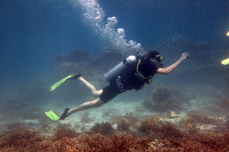 Diving from the beach on Koh Nang Yuan, Koh Samui, Thailand