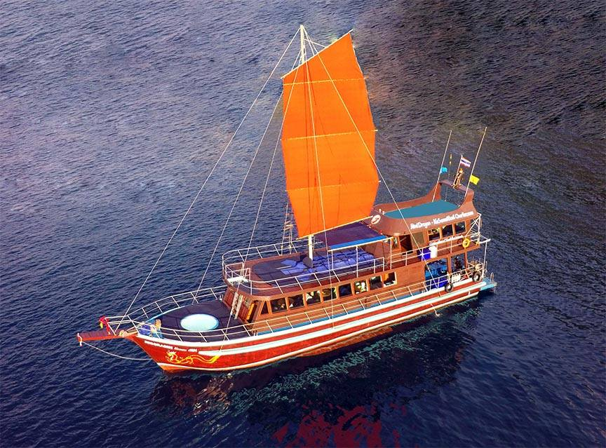 Blue & Red Dragon traditional Thai yachts, Koh Samui, Thailand