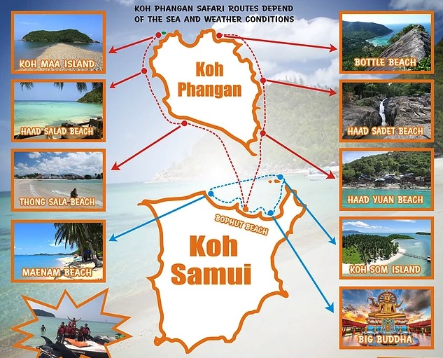 Jet ski safari from Koh Samui and Koh Phangan to neighbouring